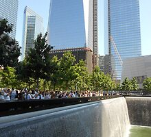 Freedom Tower and South Tower Memorial Pool by lilyisabelle