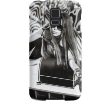 Luxury glamour girl posing with yellow sport car Samsung Galaxy Case/Skin