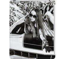 Luxury glamour girl posing with yellow sport car iPad Case/Skin