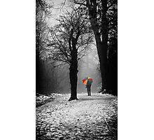 A Lonely Winters Walk Photographic Print