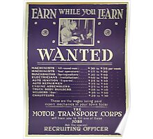 Earn while you learn Wanted machinists Poster