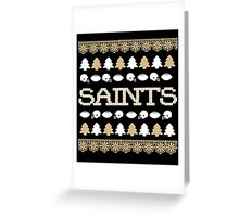 New Orleans Saints Ugly Christmas Costume. Greeting Card