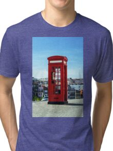 Red telephon box on the street. Porto, Portugal Tri-blend T-Shirt