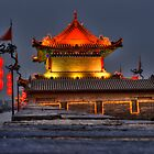 Xian City Wall at Night by Susan Dost