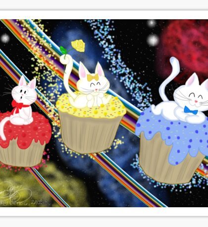 Space Cupcake Kittens Sticker