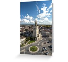 Tarascon birdfly view from the top of castle. France. Greeting Card