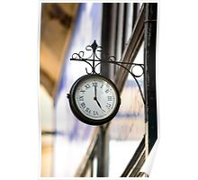 Vintage style street clock view. Center of Budapest, Hungary. Poster