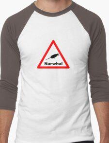 Warning Narwhal Men's Baseball ¾ T-Shirt