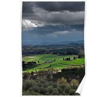 Stormy weather landscape with beautiful light, Tuscany, Italy Poster
