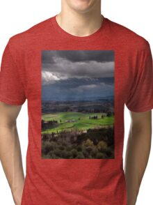 Stormy weather landscape with beautiful light, Tuscany, Italy Tri-blend T-Shirt