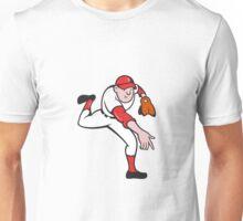 Baseball Player Pitcher Throwing Cartoon Unisex T-Shirt