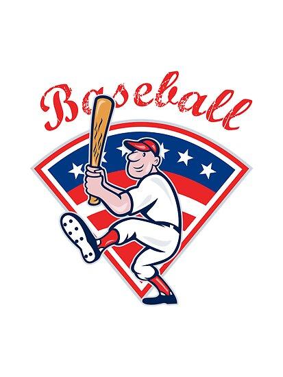 American Baseball Player Batting Cartoon by patrimonio