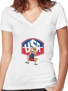 Basketball Player Dunking Ball USA Women's Fitted V-Neck T-Shirt