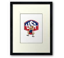 Basketball Player Dunking Ball USA Framed Print