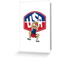 Basketball Player Dunking Ball USA Greeting Card