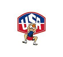 Basketball Player Dunking Ball USA Photographic Print