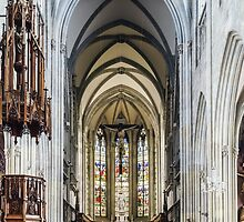 Majestic gothic cathedral interior. Beautiful religious plsce of workship. by Alexander Sorokopud