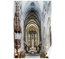 Majestic gothic cathedral interior. Beautiful religious plsce of workship. Poster