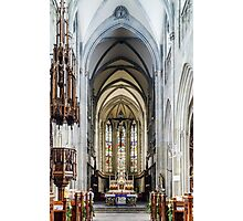 Majestic gothic cathedral interior. Beautiful religious plsce of workship. Photographic Print