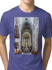 Majestic gothic cathedral interior. Beautiful religious plsce of workship. Tri-blend T-Shirt