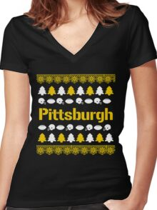 Pittsburgh Steelers Ugly Christmas Costume. Women's Fitted V-Neck T-Shirt