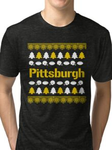 Pittsburgh Steelers Ugly Christmas Costume. Tri-blend T-Shirt