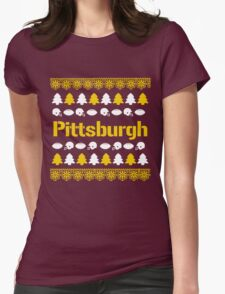 Pittsburgh Steelers Ugly Christmas Costume. Womens Fitted T-Shirt