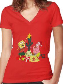 Merry Christmas From Spongebob Women's Fitted V-Neck T-Shirt