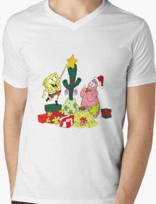 Merry Christmas From Spongebob Mens V-Neck T-Shirt