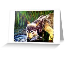 Drinking Wolf Greeting Card