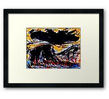 black cloud above...prairie color below Framed Print
