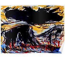 black cloud above...prairie color below Poster