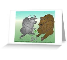 Bull and Bear toss an apple for money Greeting Card