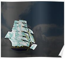 A Cloud of Sails on a Vintage Ship (dark background) Poster