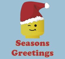 Santa Minifig Seasons Greetings by Customize My Minifig One Piece - Short Sleeve