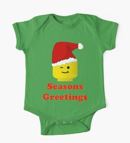 Santa Minifig Seasons Greetings by Customize My Minifig One Piece - Short Sleeve