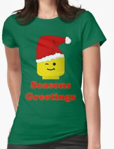 Santa Minifig Seasons Greetings by Customize My Minifig Womens Fitted T-Shirt