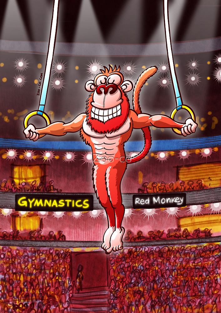 Olympic Flying Rings Monkey by Zoo-co