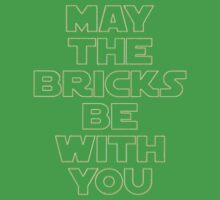 """""""MAY THE BRICKS BE WITH YOU"""" by Customize My Minifig Kids Tee"""