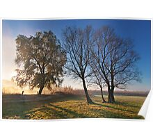 Beautiful autumn landscape at sunrise with fog Poster