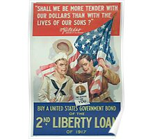 Shall we be more tender with our dollars than with the lives of our sons WG McAdoo Secretary of the Treasury Buy a United States government bond of the 2nd Liberty Loan of 1917 Poster