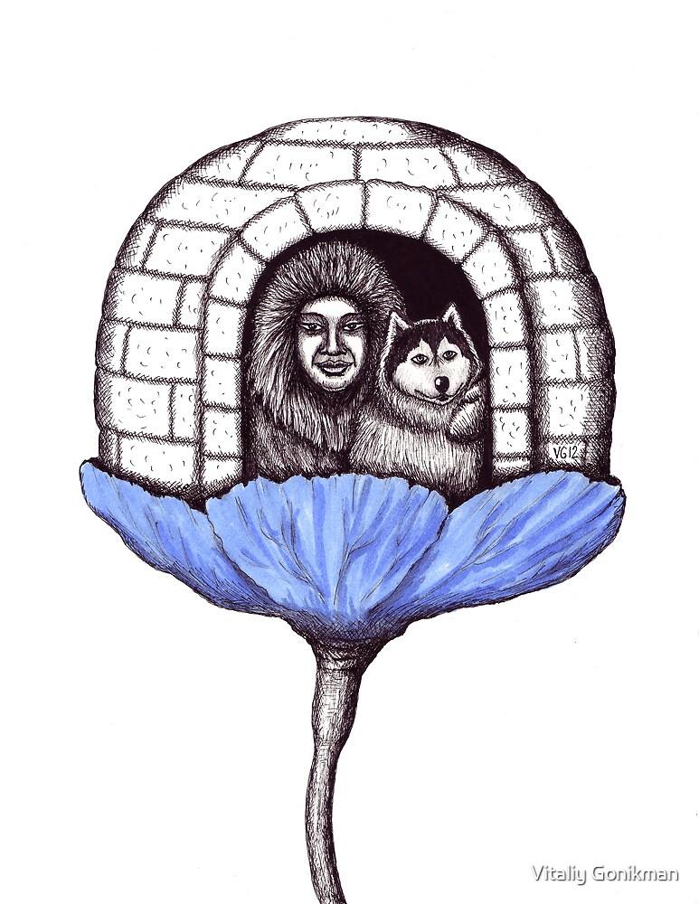 Northern Flower pen ink drawing by Vitaliy Gonikman