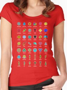 Pokemon Badges Women's Fitted Scoop T-Shirt