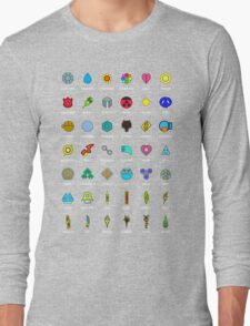 Pokemon Badges Long Sleeve T-Shirt