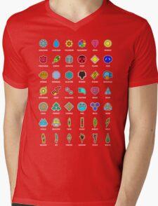 Pokemon Badges Mens V-Neck T-Shirt