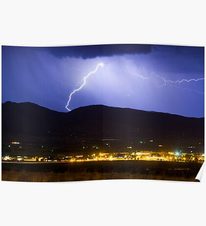 Lightning Striking Over IBM Boulder Poster