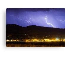 Lightning Striking Over IBM Boulder 2 Canvas Print