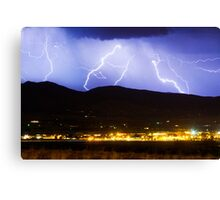 Lightning Striking Over IBM Boulder 3 Canvas Print