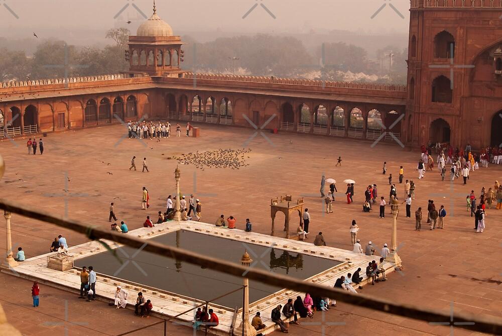 Inside Jama Masjid in the huge courtyard by ashishagarwal74