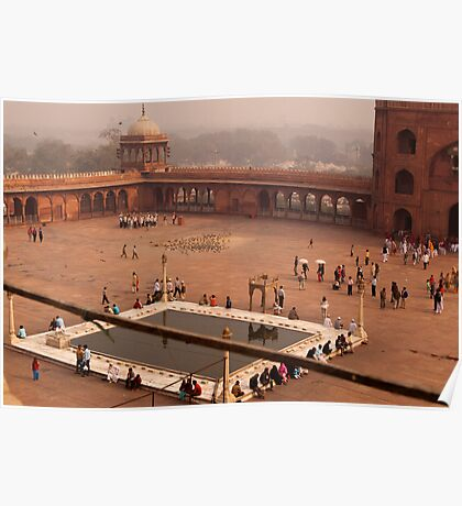 Inside Jama Masjid in the huge courtyard Poster
